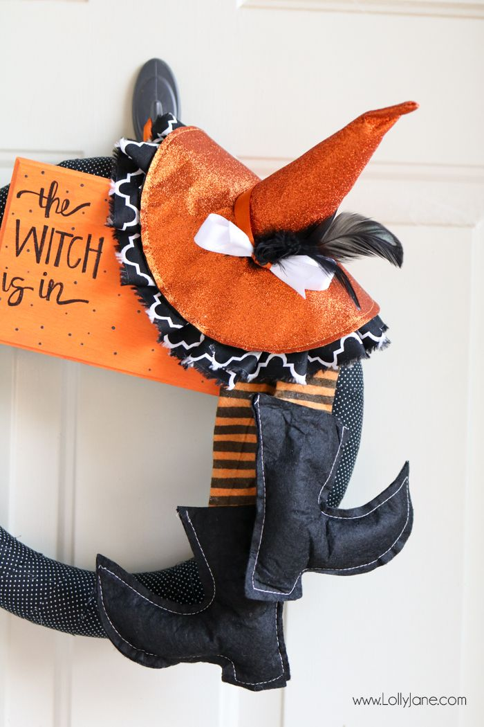 "Super cute and EASY fabric wrapped Halloween witch wreath. Love the handmade sign ""The Witch is In!"" Such cute fabric from @waverlyhome! #ad #waverlyinspirations"