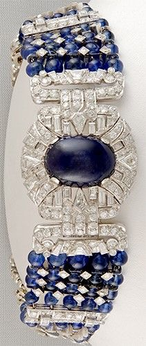 TIFFANY & Co. Diamond & Cabochon Sapphire Bracelet/ Choker