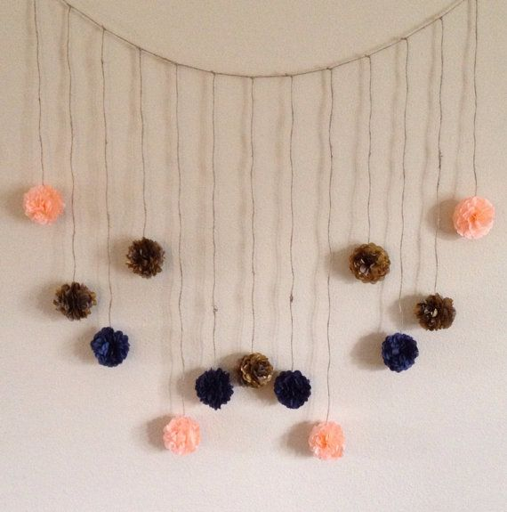 Mini Navy Blue, Light Coral, and Gold Tissue Paper Flower, Wedding Garland, Photography Prop, Party Decoration on Etsy, $24.00