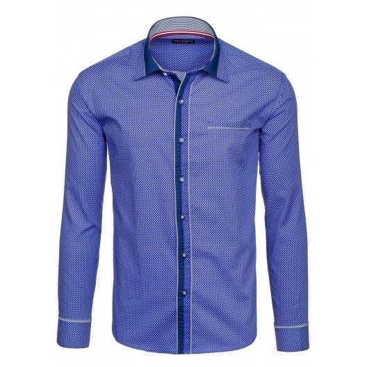 Pánske vzorované košele modrej farby - fashionday.eu