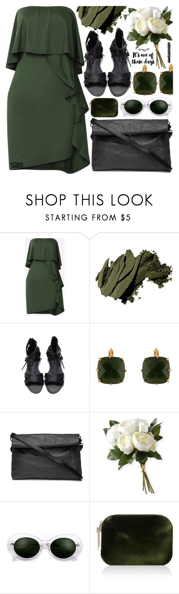"""""""Flowy Dress #Yoins"""" by pastelneon ❤ liked on Polyvore featuring Bobbi Brown Cosmetics, Les Néréides, National Tree Company, Nina Ricci and Marc Jacobs"""