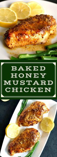Baked honey mustard chicken breast with a touch of lemon, an absolutely delicious, low-carb and healthy meal for two. Serve it with broccoli spears or other veggies for a light dinner idea. Great on a romantic dinner for Valentine's Day. #ChickenRecipesEasy , #honeymustardchicken , #lowcarbdinnerrecipes , #healthychickenrecipes , #highproteinrecipes