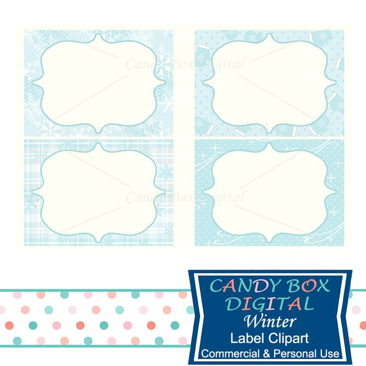Winter Blues Label Clipart - Commercial Use OK - Candy Box Digital. .These cute digital labels of snowflakes, mittens and flannel plaids will give you a warm feeling. They're perfect to use for digital scrapbooks, digital journals, or printable as buffet labels, storage labels, party labels, office labels, or as party table numbers.