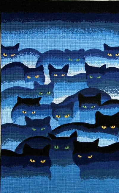 SMOKEY MOUNTAIN CATS NEEDLEPOINT CANVAS :: CATS & DOGS :: Needlepoint Canvases-Printed :: Jackies NeedleArt Mania - Discount Needlepoint Products and More: Crewel Embroidery, Counted Cross Stitch, Stamped Embroidery