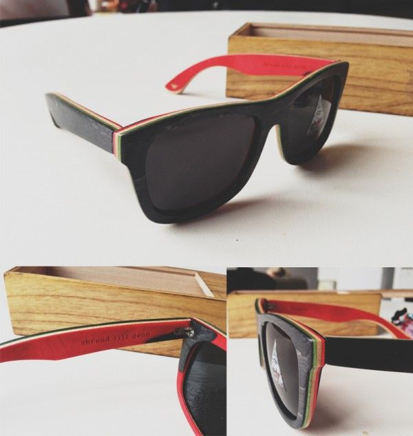 2 proof eyewear skateboard deck glasses wooden vintage