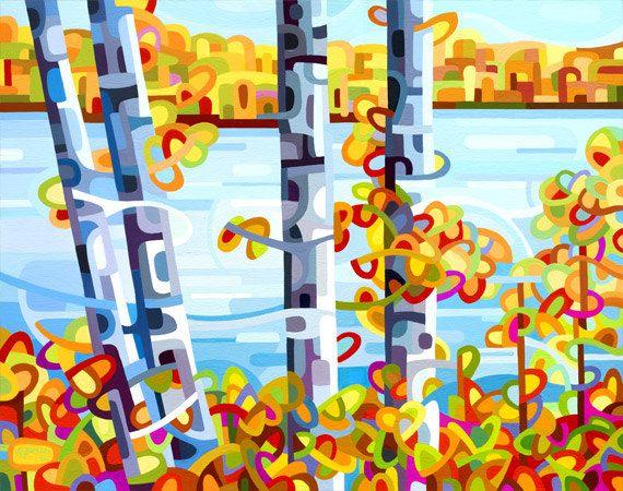 Junto al lago  Un día de otoño perezoso con abedules, playas de otoño y un azul, azul lago.  tamaño en pulgadas de la imagen: 10 x 7 el tamaño del papel en pulgadas: 8.5 x 11  tamaño en cm de la imagen: 25.5 x 17,75 en cm el tamaño del papel: 21.5 x 28  Giclee abrir edición reproducción pequeña impresión de una de mis pinturas abstractas originales del paisaje y flores.  He incluido algunas fotos de primer planos para mostrar el detalle y también una foto de lo que pueda parecer esta…