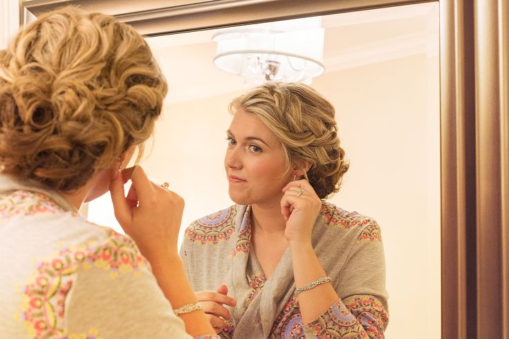 Wedding bridal updo; Blonde curly bridal updo with subtle braid; Photo cred: Hillary McCormack Photography