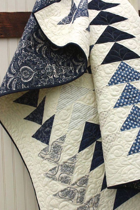 Blue and White flying geese quilt at Cottonberry Quilts. Indigo Crossing fabric by Minick and Simpson.
