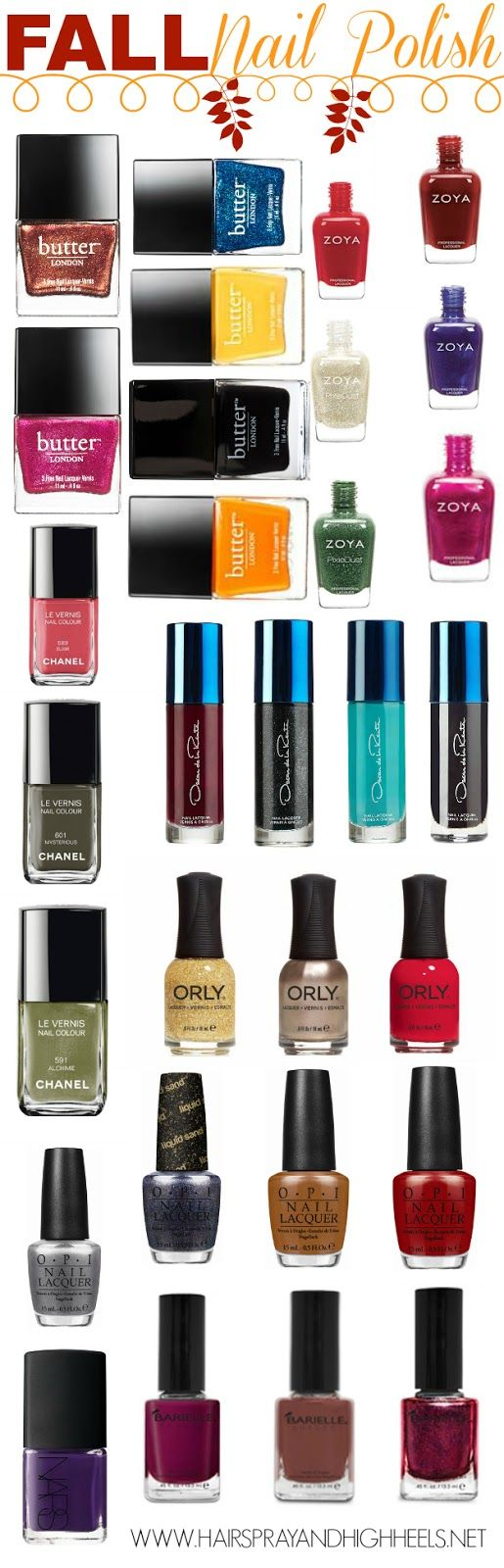 Fall 2013 Nail colours ZOYA  Livingston - A lush Autumn cream red. Pepper - A brick red cream. Neve - A sapphire blue metallic. Tomoko - Champagne silver with a matte, textured, sparkling metal finish. Mason - Red violet metallic. Chita - Forest green in a matte, textured, sparkling finish. Click link for full list............