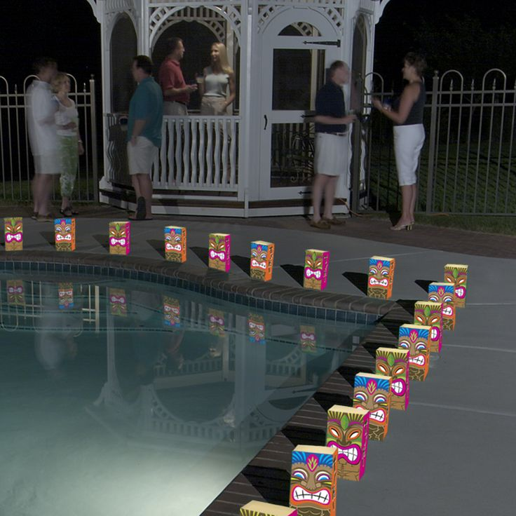 Tiki Luminaria Bags for poolside lighting. Get ready for summer fun! http://www.lumabase.com/categories/bags-in-bulk---flame-resistant