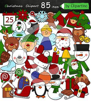 Christmas Clipart includes 85 files PNG transparent background 43color files+42 black white Size one file about 4 inch 300 dpi Original authoring technique, boldly use for commercial purposes. Create your own products and sell them. For personal and commercial use.