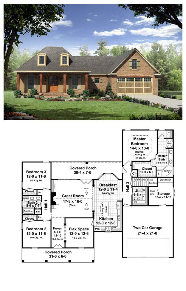 French Country Style House Plan 59165 With 3 Bed 2 Bath