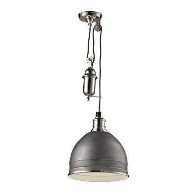 Von The Home Depot · Carolton 1 Light Weathered Zinc/Polished Nickel Pendant