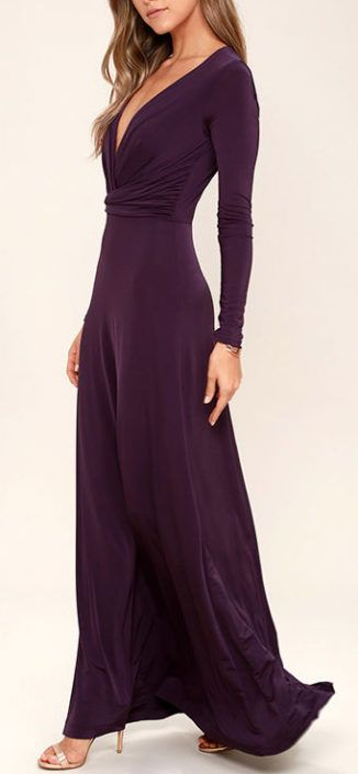 Chic-Quinox Plum Purple Long Sleeve Maxi Dress