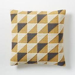 Triangle Geo Cushion Cover - Horseradish - West elm