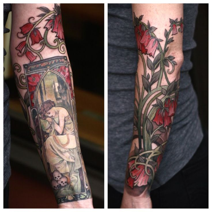 Art Nouveau Tattoo by Alice Kendall love the floral motifs outside the frame.