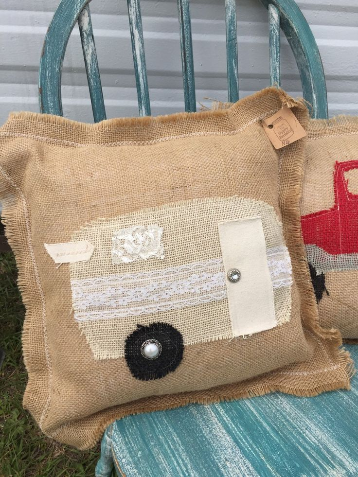 Burlap and Lace glamper pillow / shabby chic vintage camper pillow / decorative pillow / happy camper  #36 by GypsyFarmGirl on Etsy