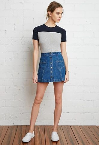 A-line denim mini is a Fall must.  Button-Front Denim Skirt | Forever 21 | #thelatest