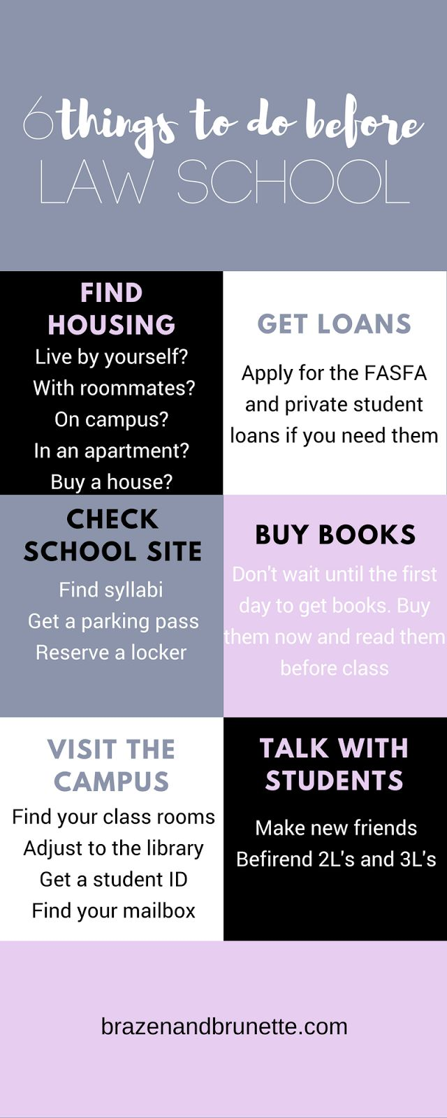 6 things to do before law school | brazenandbrunette.com
