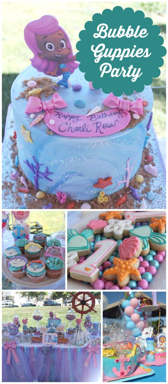 What a fun Bubble Guppies celebration for a 1st birthday party! See more party ideas at CatchMyParty.com!