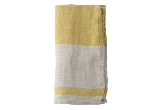 Yellow and cream napkin. Quality French linen. £8. Rustic, Mediterranean, coastal feel. Perfect for picnics, dinner parties, alfresco dining, wedding gift.