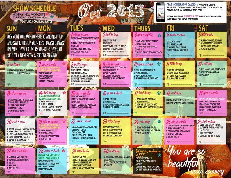 october 2013 fitness calendar // blogilates // work out // health