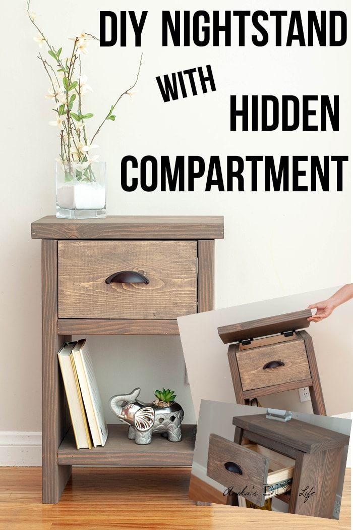 Easy Diy Nightstand With Hidden Compartment Diy Nightstand Diy Furniture Plans Bedside Table Diy