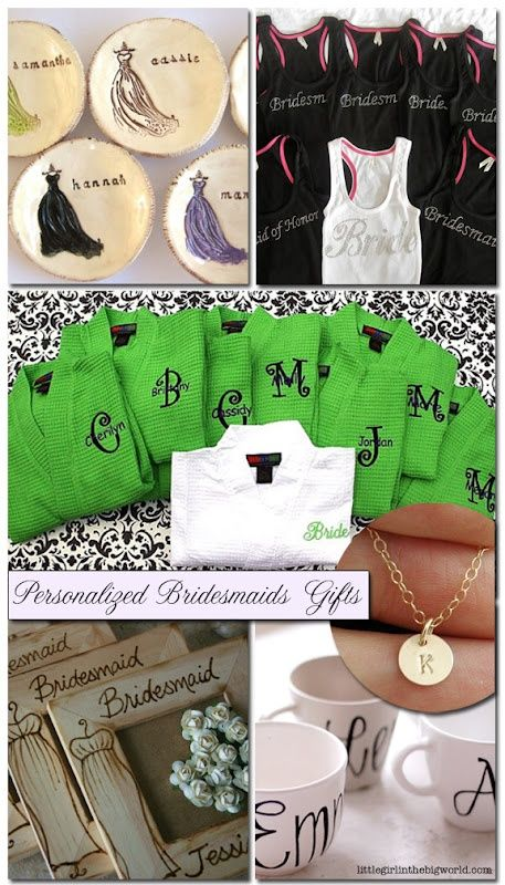 bridesmaids gifts - love the necklace, coffee mugs and picture frames
