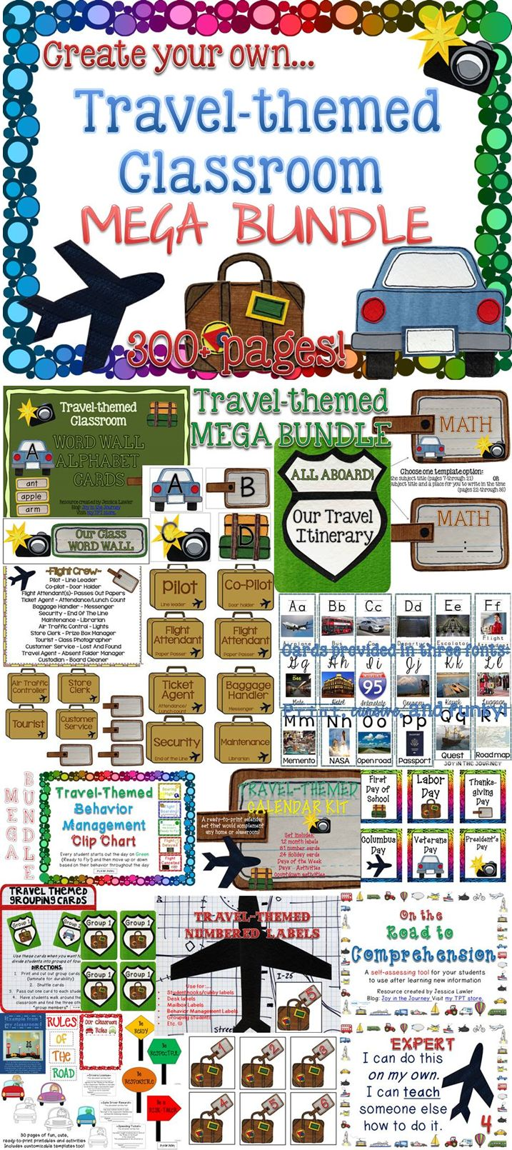 Ready for a classroom theme change? Engage your students with a fun TRAVEL/ADVENTURE THEME! Everything you need is in this 360+ page print-and-go packet from Jessica Lawler, Joy in the Journey.