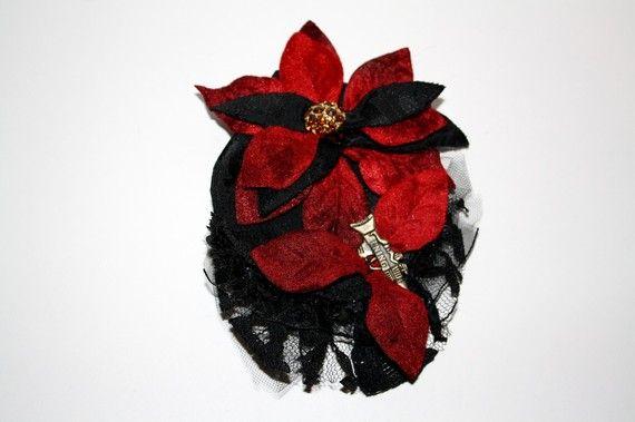Hair Flower Steam Punk Burlesque Pin Up Dark Red by HarmonyWalker, $12.00