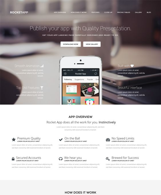 This WordPress theme for promoting apps comes with light and dark versions, a drag and drop page builder, a responsive layout, a Bootstrap framework, cross-browser compatibility, pricing tables, and more.