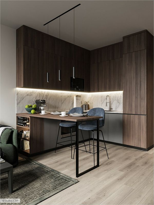 31 Trendy Home Design Small Apartments Cabinets Loft Kitchen, Apartment Kitchen, Home Decor Kitchen, Kitchen Interior, Apartment Living, Apartment Ideas, Small Condo Kitchen, Living Room, Apartment Checklist