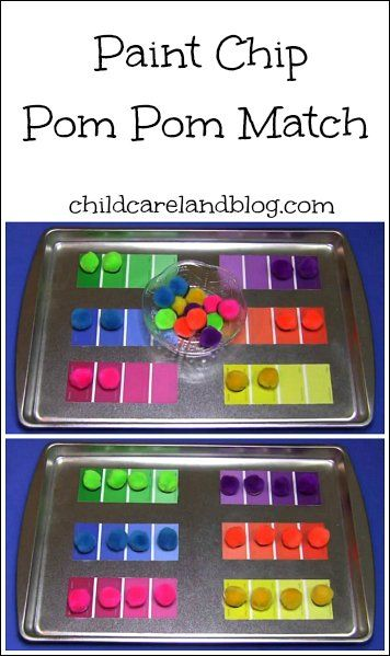 Paint Chip Pom Pom Match. Put some adhesive magnets on to the pom poms and you're ready to go.