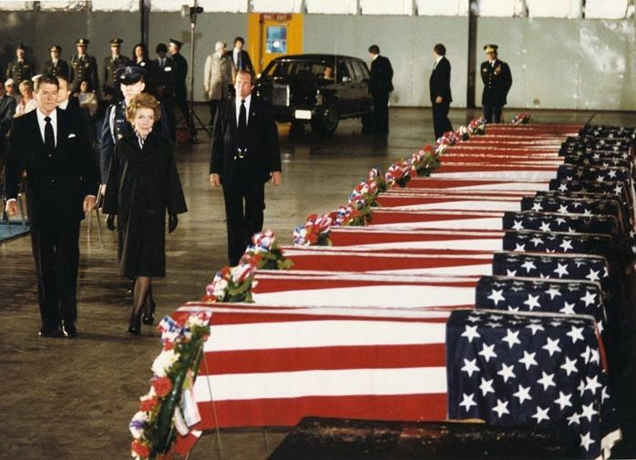 1983: the Reagans view the caskets of the Americans killed in the US embassy bombing in Beirut, Lebanon.