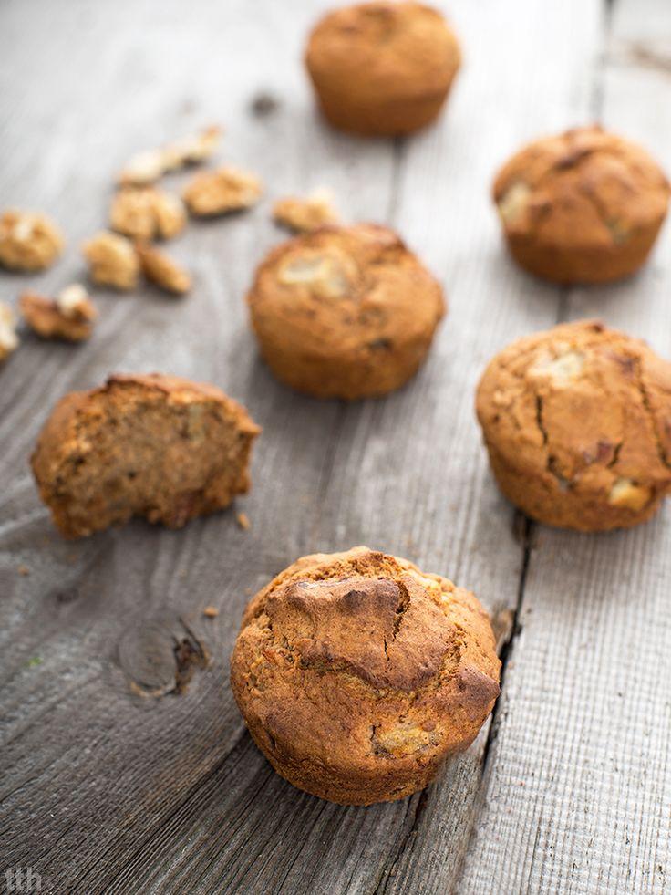 Imbirowe muffiny z orzechami wloskimi i gruszka weganskie, bezglutenowe, bez cukru