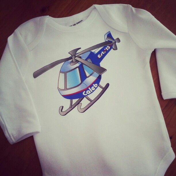#Personalised newborn #onesie, #helicopter design in size 00.