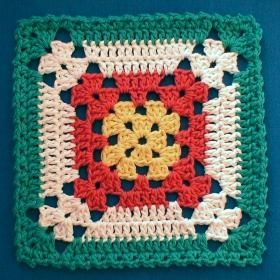 Even though it's called Diane's Dishcloth (designed by Diane Yupatoff,1999), I think it's a wonderful square for making a blanket. Love the colour changes,