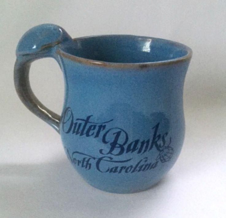 Outer Banks Coffee Mug Cup North Carolina Pottery Blue Coastal Nautical Seashell