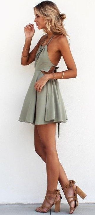#summer #trending #fashion | Olive Halter Little Dress