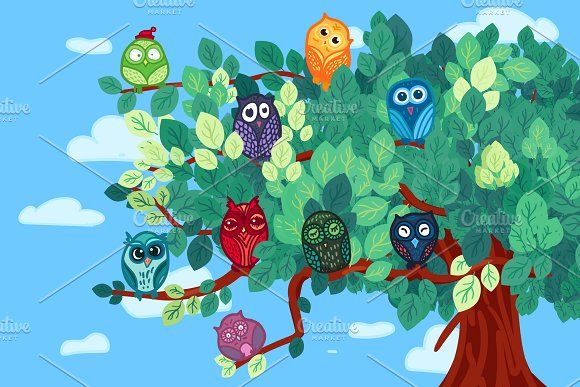 Owls On The Tree by barsrsind on @creativemarket