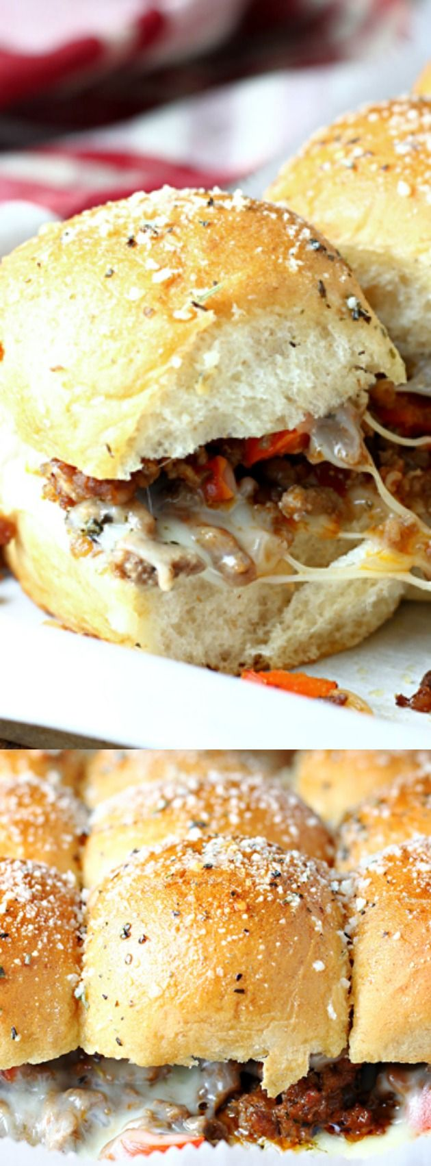 These Cheesy Sausage Pizza Sliders from Let's Dish are sure to be a hit whenever you serve them. They are filled with perfectly seasoned ground beef, Italian sausage, and lots of cheese!