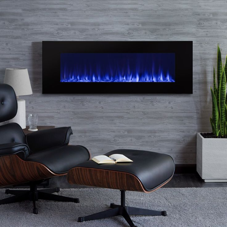 DiNatale Wall Mounted 50 in. W x 5.25 in. D x 17.75 in. H Electric Fireplace by Real Flame (DiNatale 50 Wall Electric Fireplace by Real Flame), Black (Glass)
