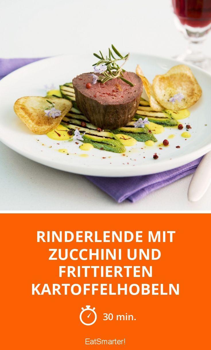 Rinderlende mit Zucchini und frittierten Kartoffelhobeln - smarter - Zeit: 30 Min. | eatsmarter.de