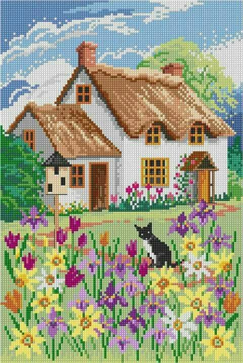 British style house and cat