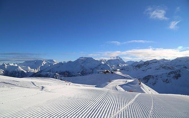 Groomed piste in Courchevel ski resort
