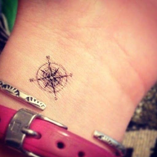 Pequena bussola desenhos de tatuagens no pulso ideias para meninas #tattoo…