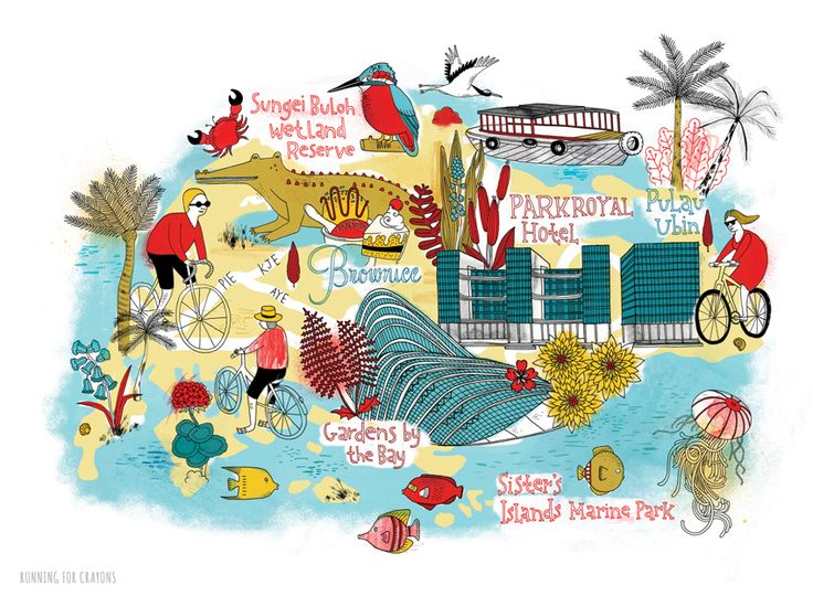 Tilly aka Running for Crayons - Illustrated map of Singapore, for National Geographic Traveller