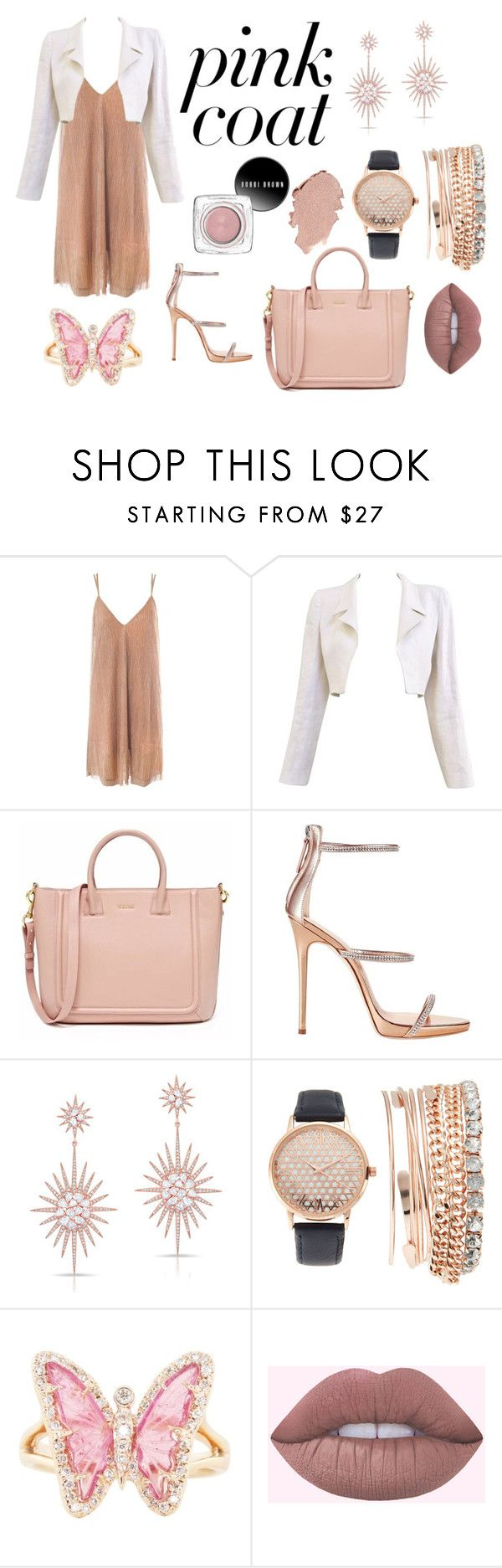 """Pinkish Pink Coat"" by chrisfania-putri on Polyvore featuring Sans Souci, Chanel, Giuseppe Zanotti, Anne Sisteron, Jessica Carlyle and Luna Skye"