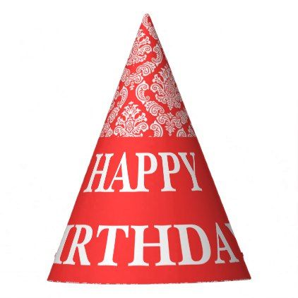 #Custom Happy Birthday Text with Salmon Damask Party Hat - #birthday #gifts #giftideas #present #party