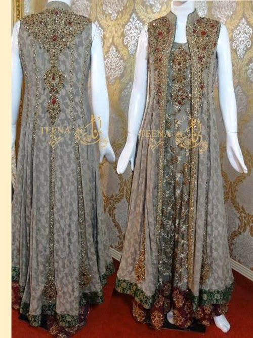 Latest Pakistani Party Wear Frock Designs 2014 - Dosheeza